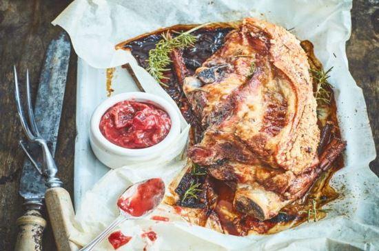 Roast Pork Loin with Baked Rhubarb