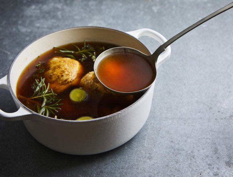 broth in saucepan