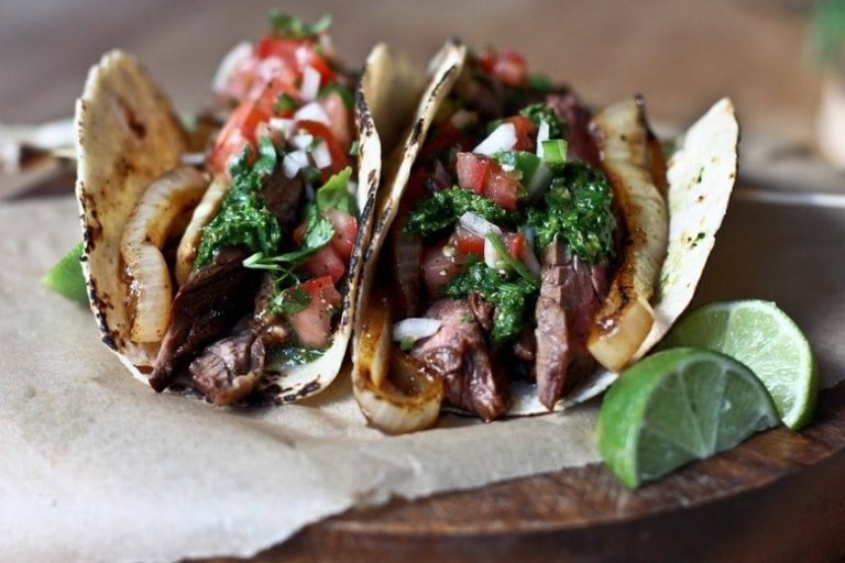 Grilled Flat Iron Tacos with Chimichurri and Burnt Spring Onion Crema