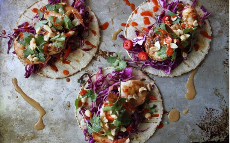 Coconut Shrimp, Satay Sauce and Grilled Corn Tacos
