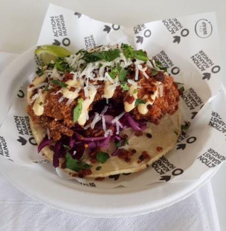 Breddos Tacos – Fried Chicken Taco, Chilli, Bacon-Avo Mayo