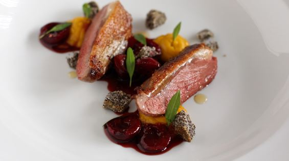 Pan Roasted Duck Breasts with a Roasted Pumpkin Purée
